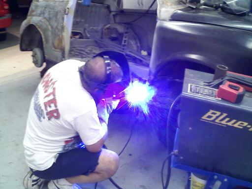 Welding the rocker panel in place